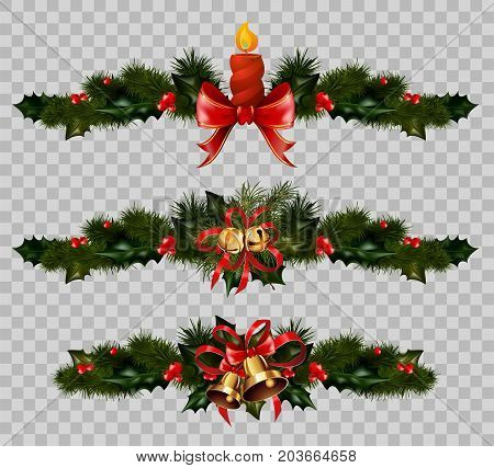 Christmas decorations set of fir or holly wreath, golden balls and bells or candle in red ribbon bow and gold ornament. Vector Christmas winter holiday decoration isolated on transparent background