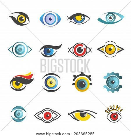 Eyes logo templates set of color graphic human eye symbols with pupil. Vector isolated icons for ophthalmology or optical medicine and art decoration or technology design element