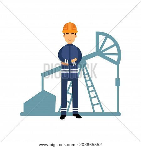Oilman character in a blue uniform, oil industry extraction and refinery production vector Illustration on a white background
