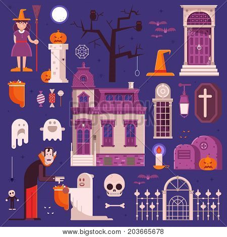 Halloween elements and icons set. Including trick or treat kids, cartoon vampire, old ghost house, haunted graveyard, pumpkin, skull, witch hat and other traditional halloween symbols.