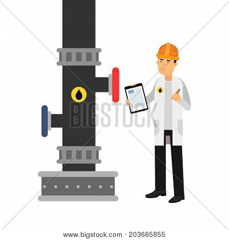 Oilman character inspecting an oil pipeline with documents, , oil industry production vector Illustration on a white background