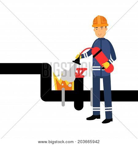 Oilman character in a blue uniform extinguishing a fire on an oil pipeline using a fire extinguisher vector Illustration on a white background