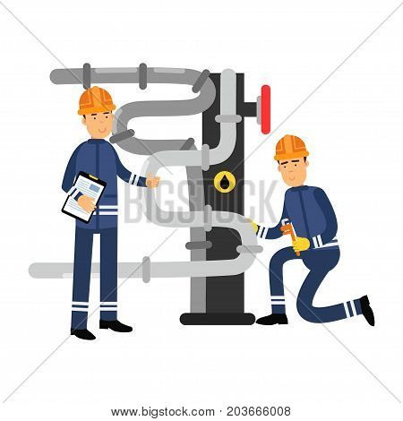 Oilmen characters working on an oil pipeline, oil industry production vector Illustration on a white background