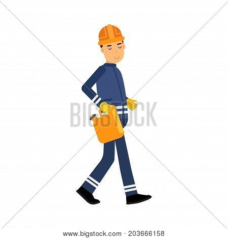 Oilman character in a blue uniform carrying orange jerrican, oil industry extraction and refinery production vector Illustration on a white background