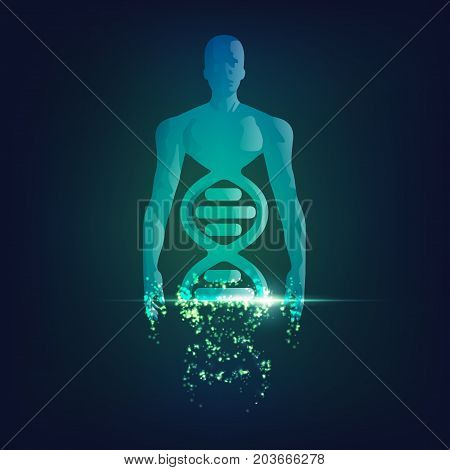 concept of technology advancement, dna symbol combined with human body