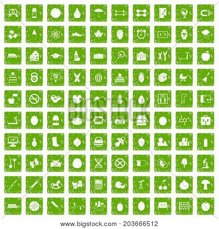 100 apple icons set in grunge style green color isolated on white background vector illustration