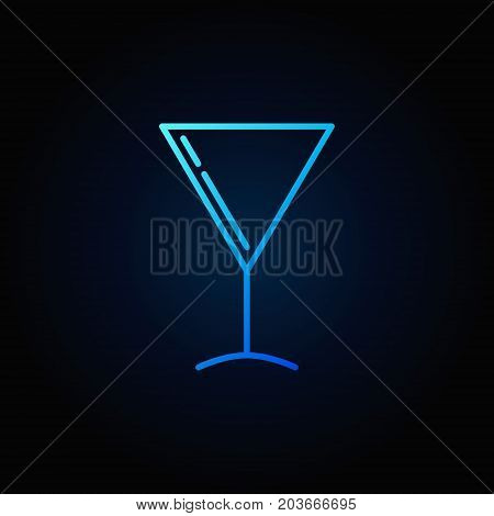 Martini glass blue vector outline icon or sign on dark background