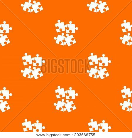 Jigsaw puzzles pattern repeat seamless in orange color for any design. Vector geometric illustration