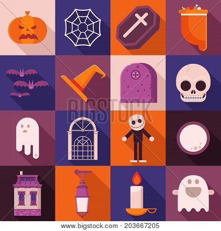 Halloween vector icon set in flat design. Including sweets bag, pumpkin head, skull, haunted house, ghost, bats, spider web and other traditional symbols. Square halloween icons with long shadow.