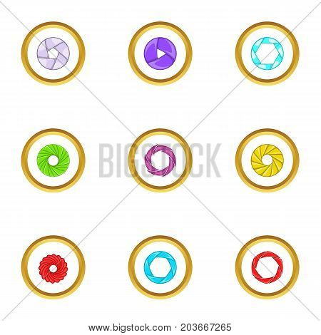 Optics zoom icons set. Cartoon set of 9 optics zoom vector icons for web isolated on white background
