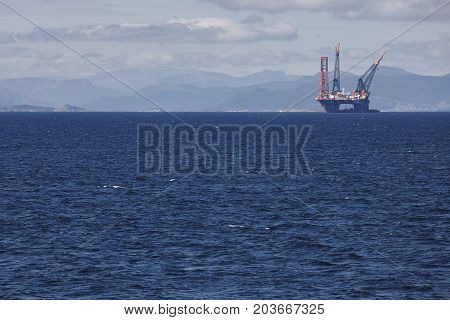 Oil and gas offshore platform in Norway. Energy industry. Petroleum