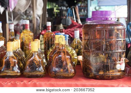 Liquor Dagia with snakes and scorpions inside.Laotian people made traditional liquor fermented and pickled with poisonous animals and poisonous insect with herbal and other for drink liquor herbal medicine in Luang Prabang Laos