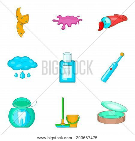 House personal hygiene icon set. Cartoon set of 9 house personal hygiene vector icons for web design isolated on white background
