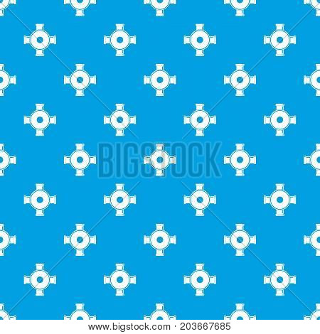 Pipe fitting pattern repeat seamless in blue color for any design. Vector geometric illustration