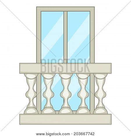 Ornamental balcony icon. Cartoon illustration of ornamental balcony vector icon for web