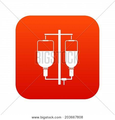 Intravenous infusion icon digital red for any design isolated on white vector illustration