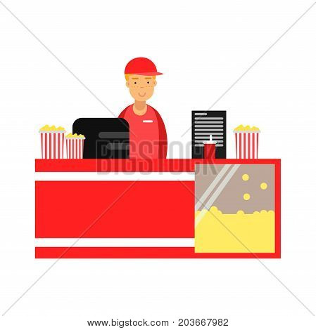 Salesman selling popcorn in cinema theatre vector Illustration on a white background
