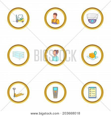 Loader work icons set. Cartoon set of 9 loader work vector icons for web isolated on white background