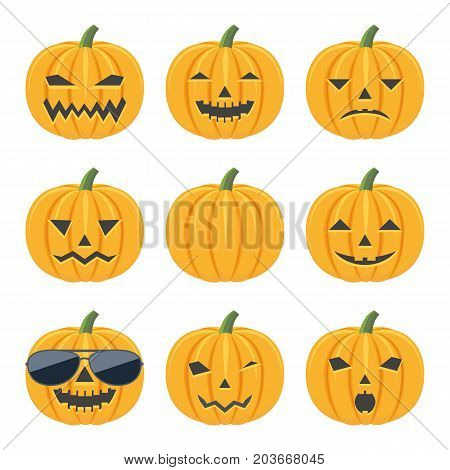 Set of colorful cartoon icons of emotional, smiling pumpkins and in sunglasses. Design for Halloween. Vector illustration.