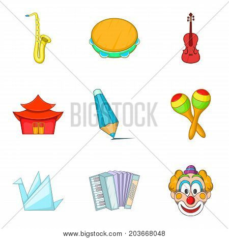 Musical taste icons set. Cartoon set of 9 musical taste vector icons for web isolated on white background