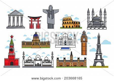 Spectacular famous architectural art creations isolated cartoon vector illustrations set on white background. Unique buildings, tall towers, ancient constructions and huge religious monument.