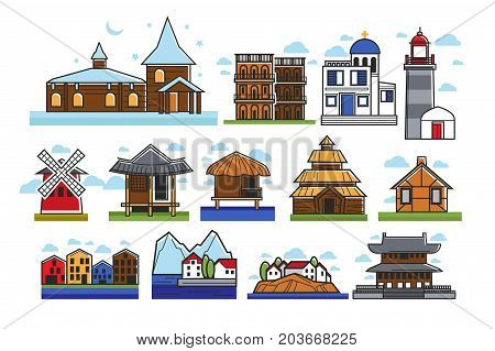 Authentic stylized buildings from countries all over world isolated cartoon flat vector illustrations set on white background. Old-fashioned wooden and modern cozy dwellings and small churches.