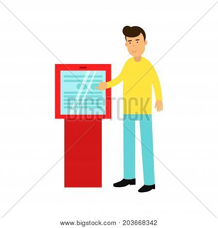 Young man buying cinema tickets in touchscreen automatic machine vector Illustration on a white background