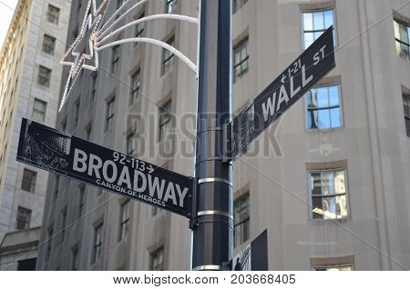 Street Signal of Corner of Broadway and Wall St
