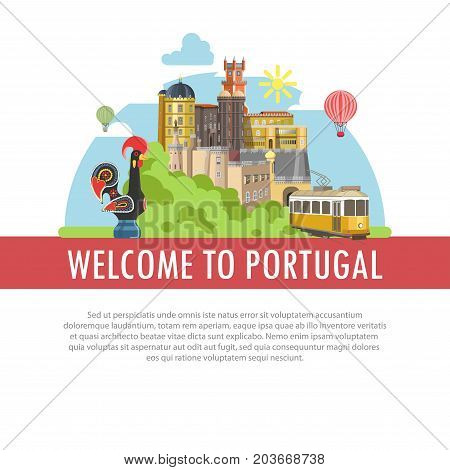 Welcome to Portugal poster of famous landmarks and tourist travel attractions. Lisbon yellow tram and castle tower buildings, Porto rooster and architecture vector flat design