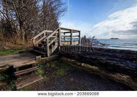 Pacific Ocean view at the West Coast near Tofino Vancouver Island BC Canada.