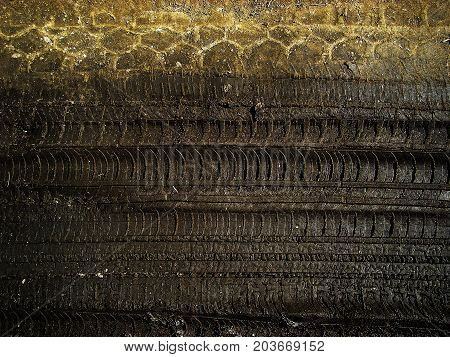 Traces of car tires on the ground. Soil texture. Ground background. Abstract nature background