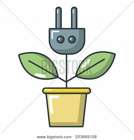 Plant in pot and electric plug icon. Cartoon illustration of plant in pot and plug vector icon for web