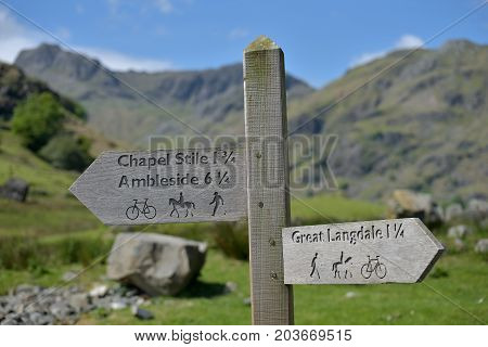 Signpost in Great Langdale, English Lake District