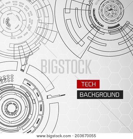 Background with futuristic round modern virtual technology elements of different radius and split lines shape vector illustration