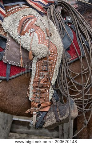 June 10 2017 Toacazo Ecuador: closeup of chaps made of sheep skin