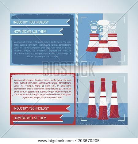 Horizontal banners in red blue colors with usage of industry technology for environment isolated vector illustration
