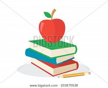colored books with appel for school vector