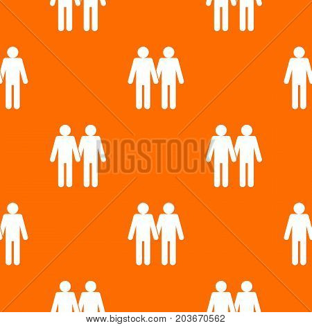 Two men gay pattern repeat seamless in orange color for any design. Vector geometric illustration