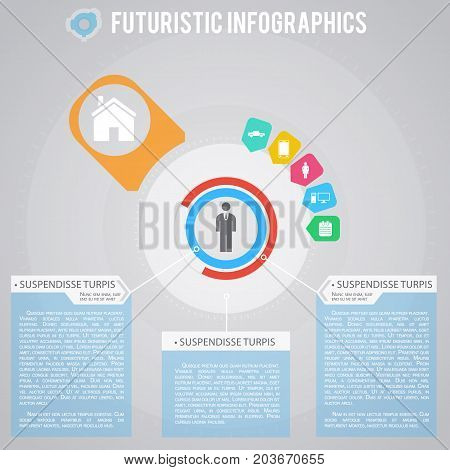 Everyday life of businessman futuristic infographics with set of icons and elements of digital technology vector illustration