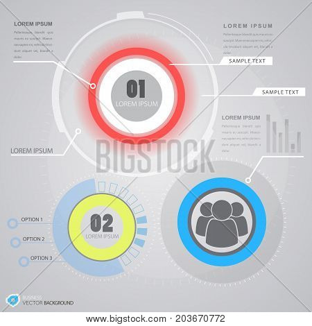 Business infographics with choice of option personnel icon and software interface elements on grey background vector illustration