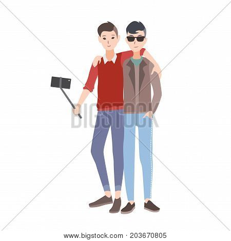 Two young men dressed in stylish clothing standing together, smiling and making selfie photo using monopod with smartphone. Flat cartoon characters isolated on white background. Vector illustration