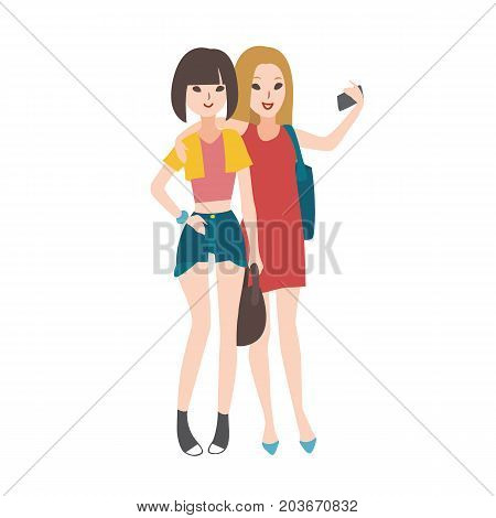 Pair of young women dressed in fashionable clothing standing, embracing each other, smiling and taking selfie photo with smartphone. Flat female cartoon characters isolated on white background
