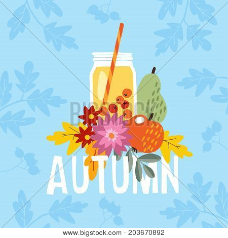 Hand drawn autumn party greeting card, invitation with cocktail drink in a glass jar. Apple, pear fruit and berries and mums flowers and colorful leaves, fall concept. Vector illustration, web banner.