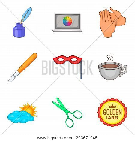 Play actor icons set. Cartoon set of 9 play actor vector icons for web isolated on white background