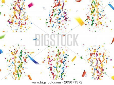 Exploding colorful confetti and streamer background Vector