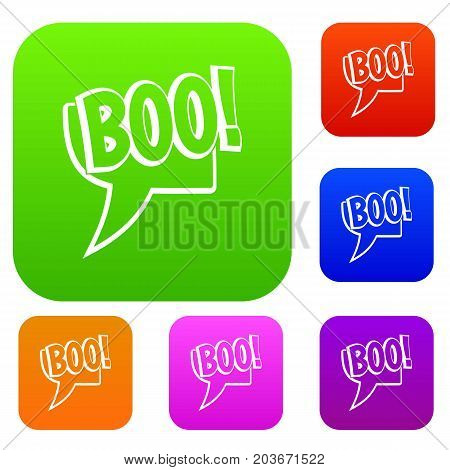 BOO, comic text speech bubble set icon color in flat style isolated on white. Collection sings vector illustration
