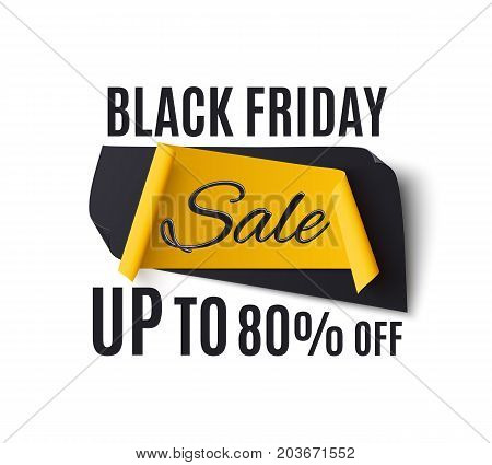 Black friday sale banner, isolated on white background. Template for poster or brochure. Vector illustration.