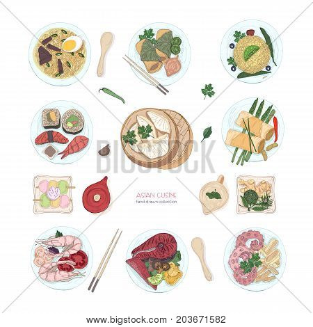 Collection of hand drawn colorful dishes of Asian cuisine isolated on white background. Delicious meals and snacks, traditional food of Asia - ramen noodles, dumplings, sushi. Vector illustration