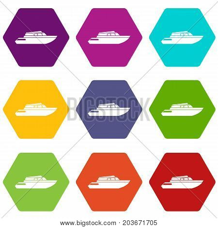 Planing powerboat icon set many color hexahedron isolated on white vector illustration
