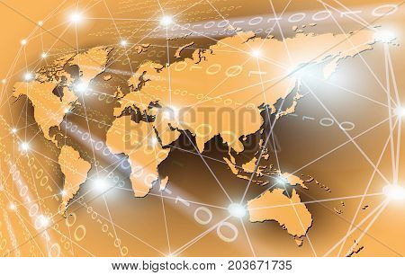 Global network connection with matrix binary Vector